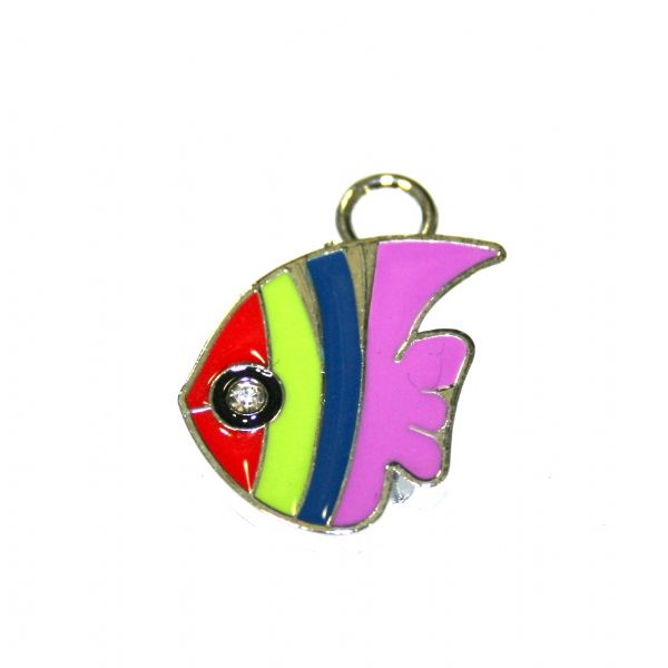 1pce x 25*21mm Rhodium plated colourful fish enamel charm - SD03 - CHE1035